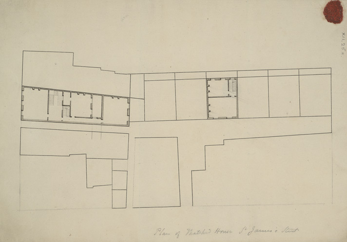 [A copy of drawn plan of Thatched House Tavern in St James's Street and adjoining property towards Barkshire House]